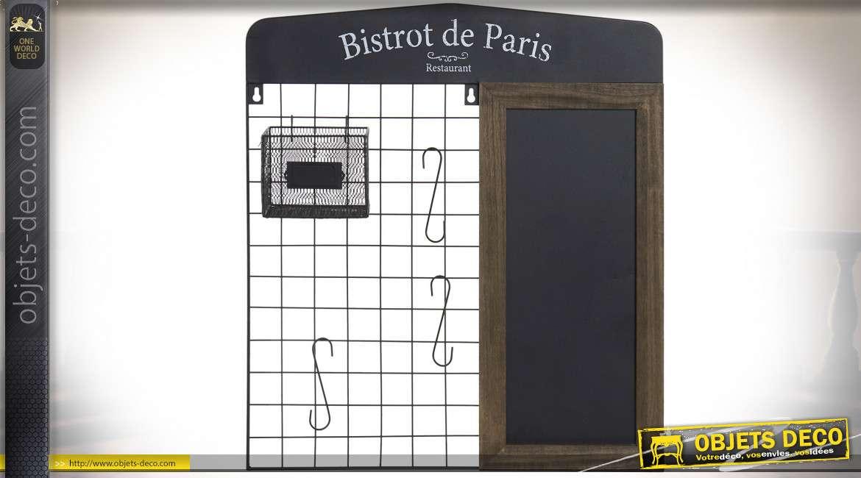 Tableau de cuisine en bois et métal, style Bristrot parisien avec panier à suspendre, crochet et tableau noir, 58cm