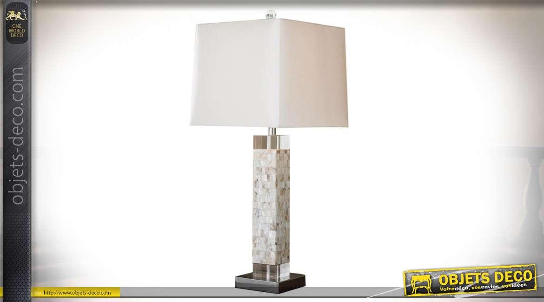 LAMPE DE TABLE NACRE 36X36X70 3,2 KG. MOSAIQUE