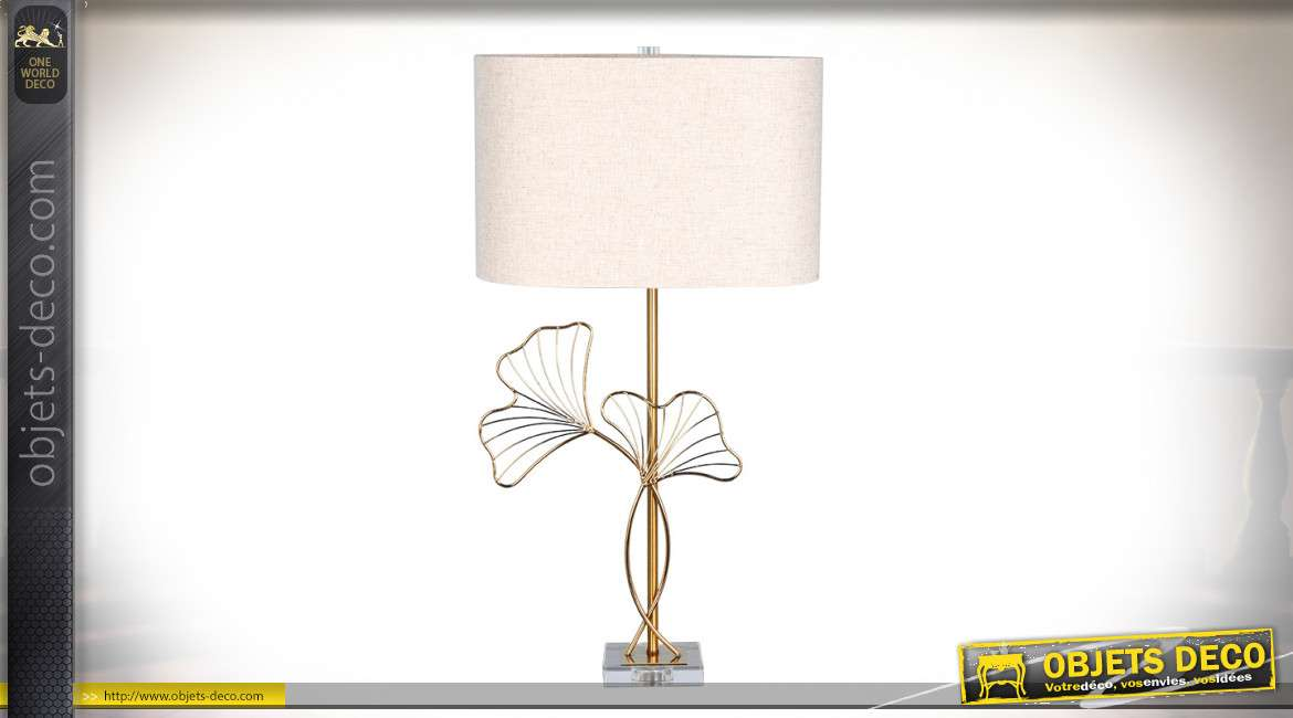 LAMPE DE TABLE MÉTAL VERRE 40X23X73 1,8 KG. GINGKO
