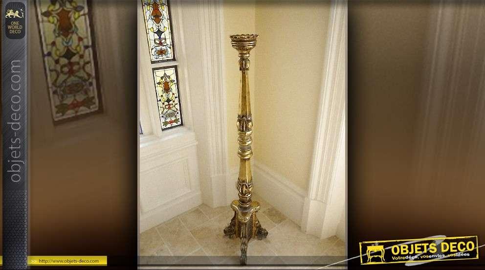 grand bougeoir 1 51 m tre en bois finition or antique. Black Bedroom Furniture Sets. Home Design Ideas