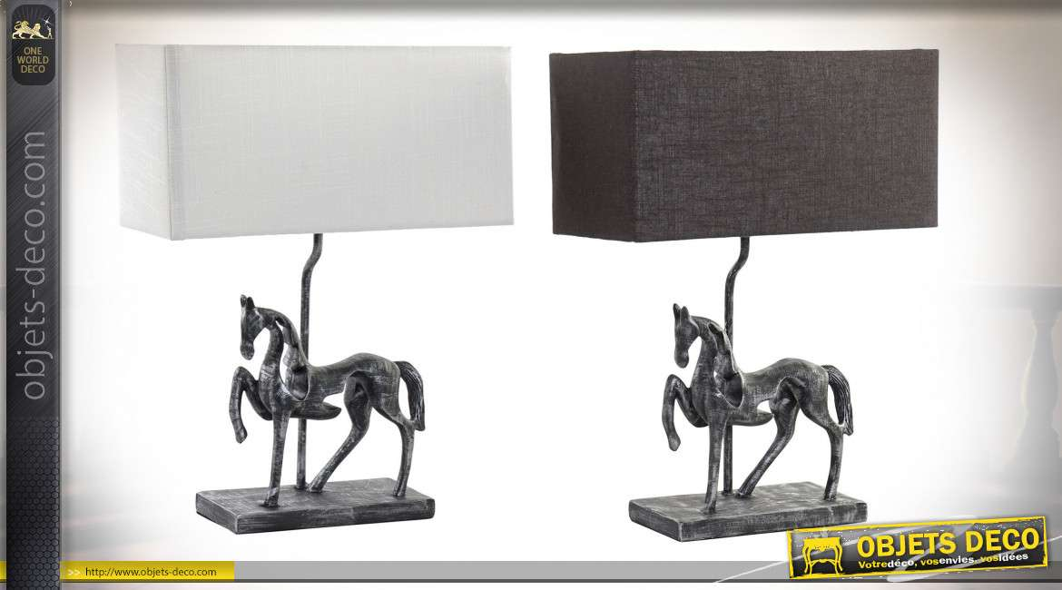 LAMPE DE TABLE RÉSINE 35,5X16X47 CHEVAL 2 MOD.