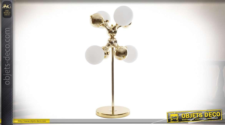 LAMPE DE TABLE MÉTAL VERRE 40X40X75 BALL DORÉ