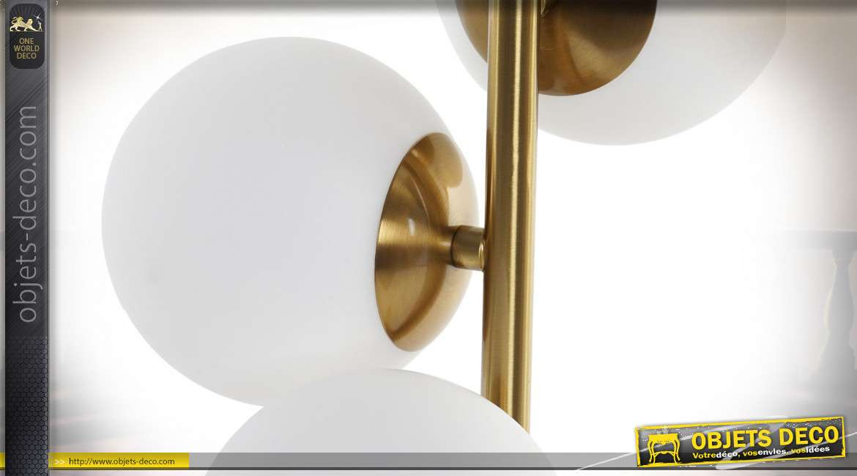 LAMPE DE TABLE ALUMINIUM VERRE 28X28X67 5 BOULES