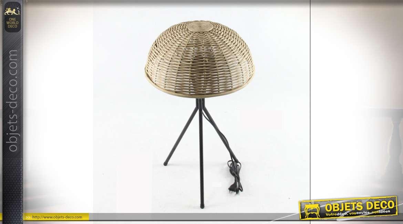 LAMPE DE TABLE OSIER MÉTAL 37X37X63 NATUREL