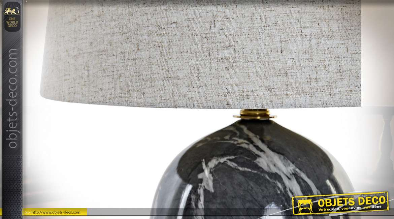 LAMPE DE TABLE GRES MÉTAL 38X38X60 38 SIMIL MARBRE