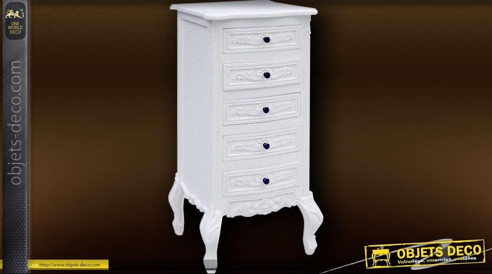 Chiffonnier louis xv 5 tiroirs blanc antique - Chiffonnier blanc 5 tiroirs ...
