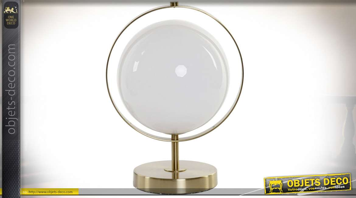 LAMPE DE TABLE MÉTAL VERRE 20X25X32 25 BALL BLANC