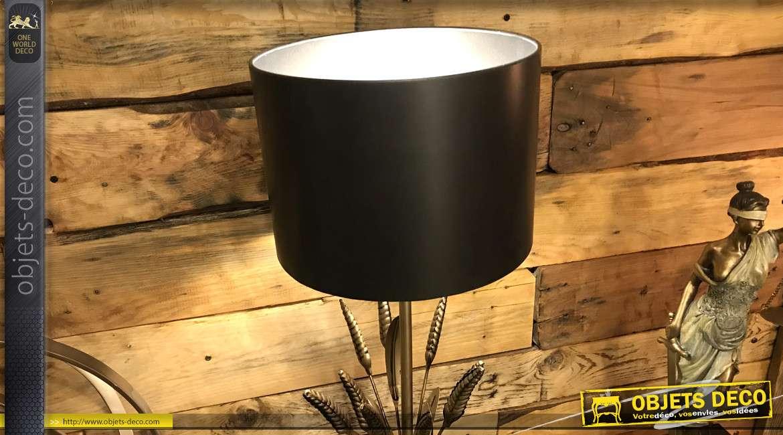 Lampe de table originale en métal noir et doré, finition brillante et mate, abat-jour métallique et base en épis de blé, 50cm