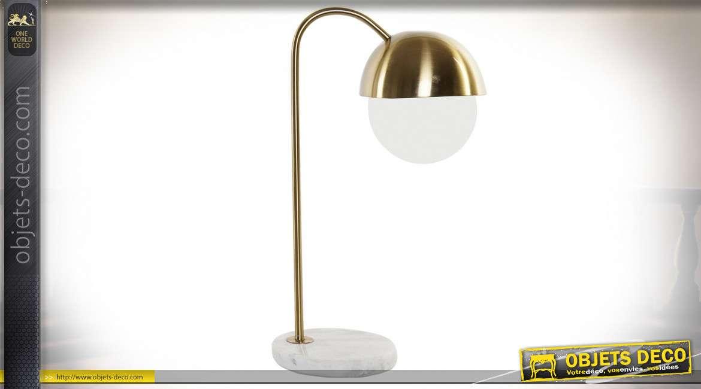 LAMPE DE TABLE MÉTAL MARBRE 31X20X53 20 BALL DORÉ