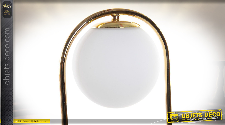 LAMPE DE TABLE MÉTAL VERRE 15X15X61 15 BALL BLANC