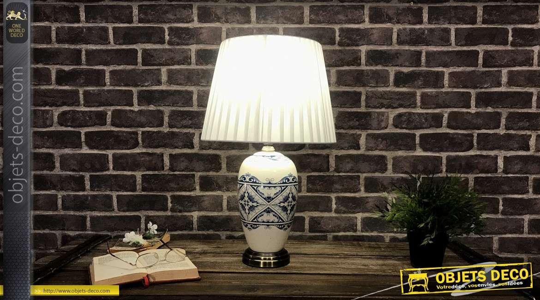 Lampe de table en grès finition clair et bleu effet anciens carreaux de ciments, 55cm