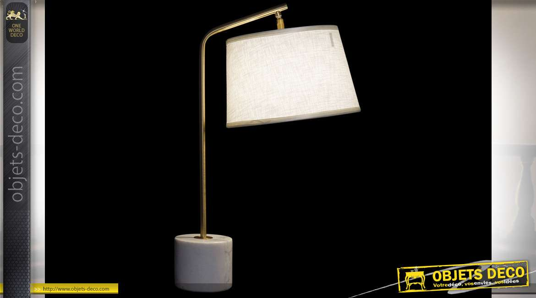LAMPE DE TABLE MÉTAL MARBRE 36X28X60 36 BLANC
