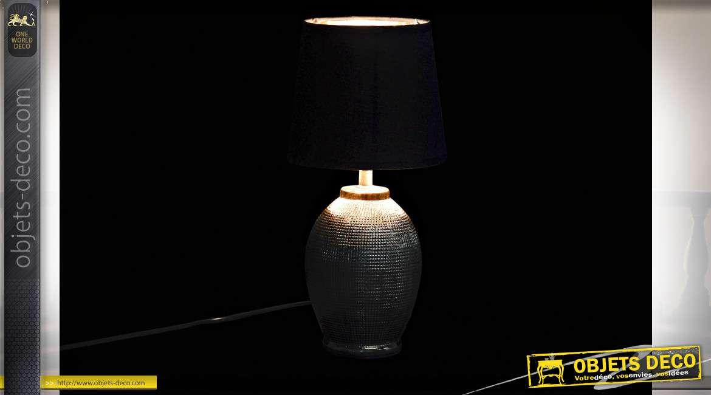 LAMPE DE TABLE GRES COTON 18X18X36 DORÉ