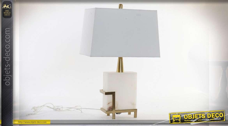 LAMPE DE TABLE MARBRE MÉTAL 40X40X64 3,2 KG. BLANC