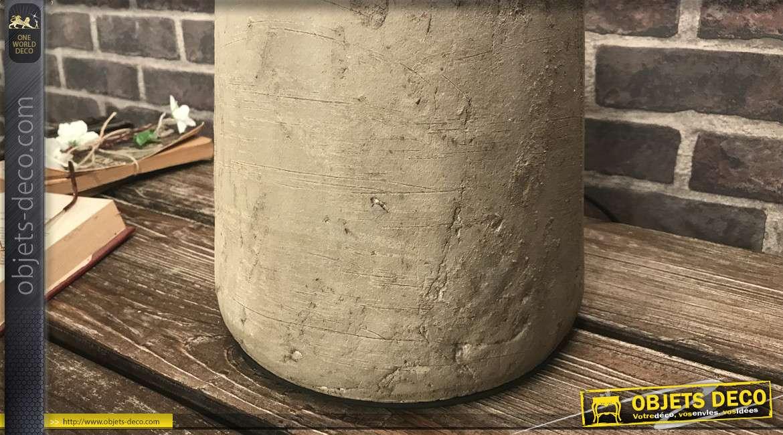Grande lampe de table en grès, forme de vase, finition beige vieilli et cuivre brillant, 70cm