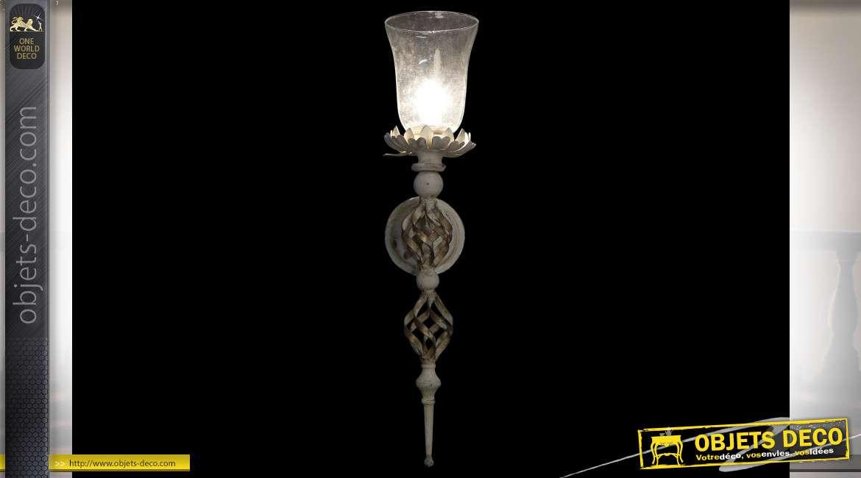LAMPE APPLIQUE MÉTAL VERRE 15X26X68 VIEILLI