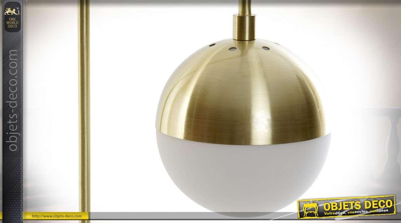 LAMPE DE TABLE MÉTAL VERRE 23X23X56,5
