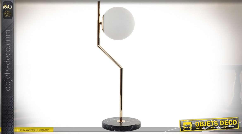 LAMPE DE TABLE MÉTAL VERRE 23X19X58 23 BALL BLANC