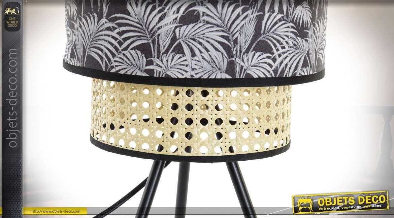 LAMPE DE TABLE MÉTAL POLYESTER 24X24X54 PALMS NOIR
