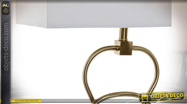 LAMPE DE TABLE MÉTAL VERRE 38X23X72 1,5 KG. DORÉ