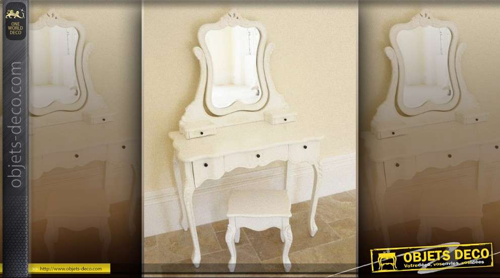 coiffeuse shabby chic romantique. Black Bedroom Furniture Sets. Home Design Ideas