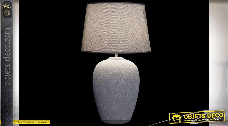 Lampe de table en céramique effet béton et abat-jour en lin, style industriel moderne, esprit épuré, 66cm