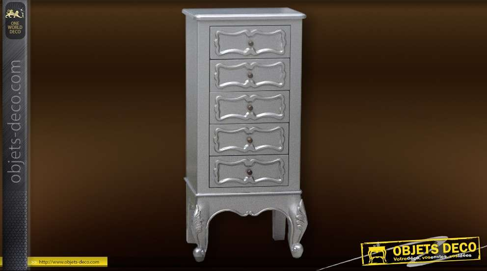 chiffonnier baroque gris silver 5 tiroirs. Black Bedroom Furniture Sets. Home Design Ideas