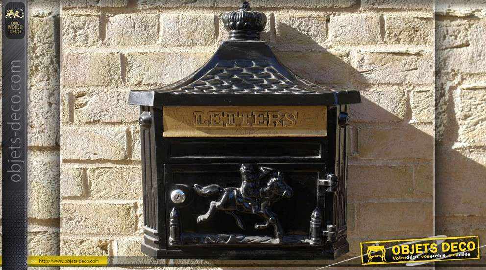 Boîte aux lettres déco murale style anglais noire