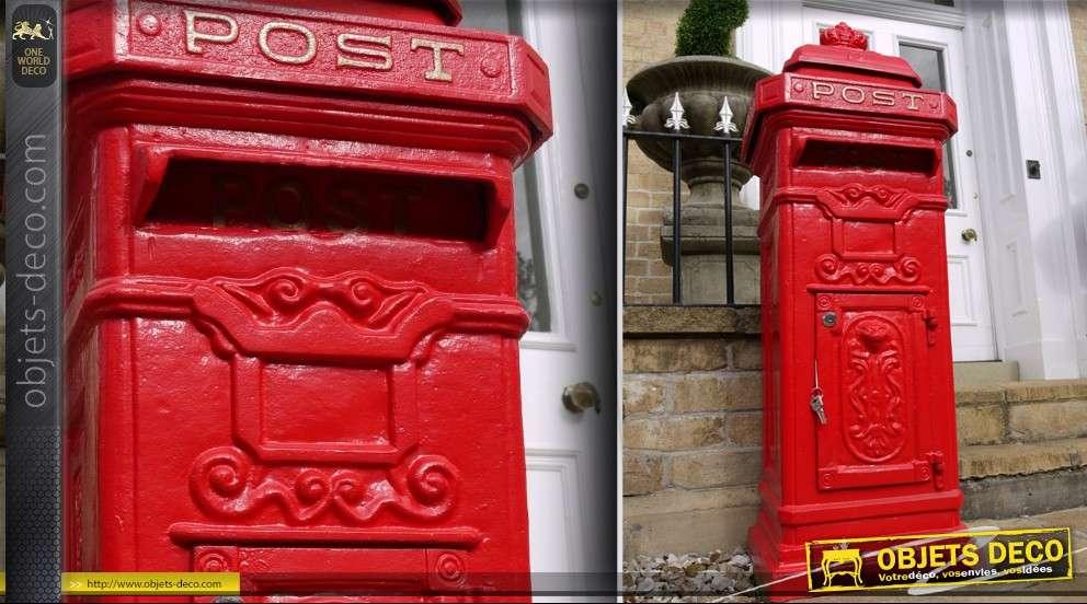 Boîte Aux Lettres Colonne Anglaise Rouge En Fonte D Aluminium