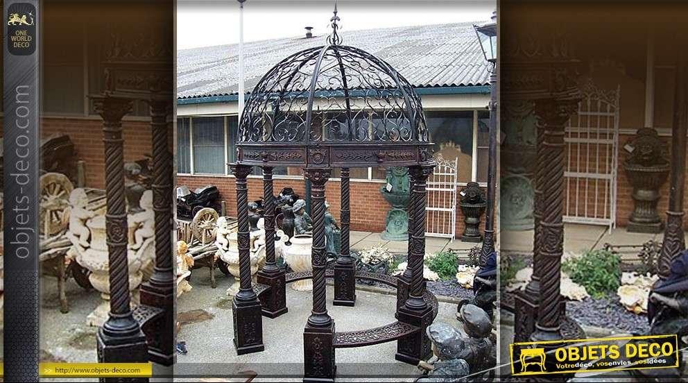 Grande gloriette kiosque en fonte et fer forgé