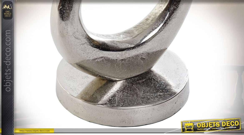 Grand trophée en alumium, style moderne esprit ruban noué, finition brillante et mate, 52cm