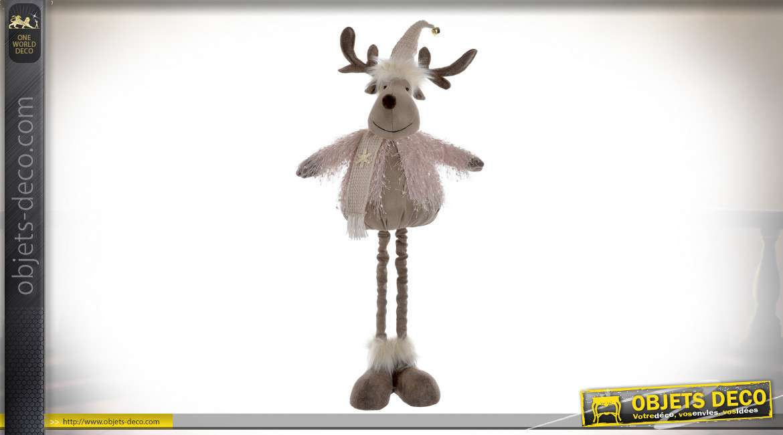 Grand renne décoratif finition vieux rose poudré, ambiance fêtes de Noël, 70cm