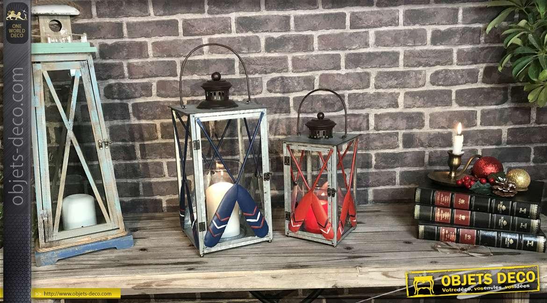 Duo de lanternes originales en métal type zinc finition rouge et bleu, rames de bateau, 53 cm