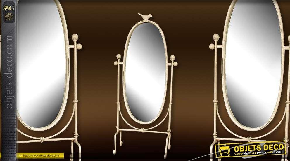 Miroir psych ovale sur pied de style r tro 150 cm - Miroir ovale sur pied ...
