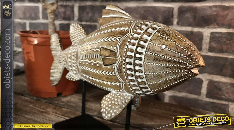 Déco à poser en forme de poisson en résine sur socle en métal noir