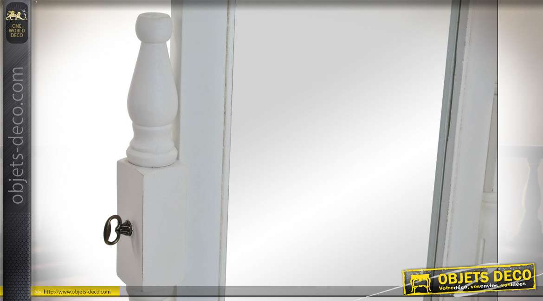 MIROIR BOIS 54X50X170 DRESSING NATUREL BLANC
