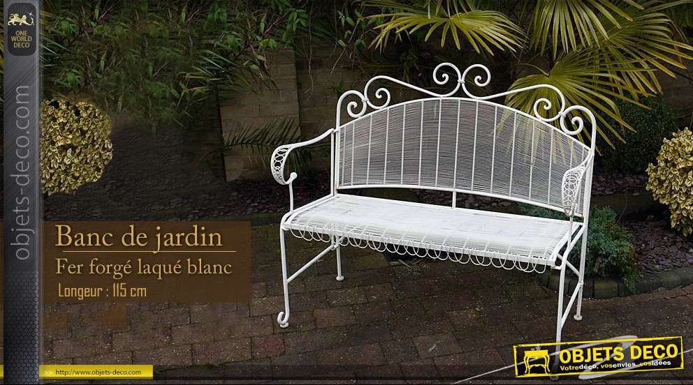 banc de jardin blanc. Black Bedroom Furniture Sets. Home Design Ideas