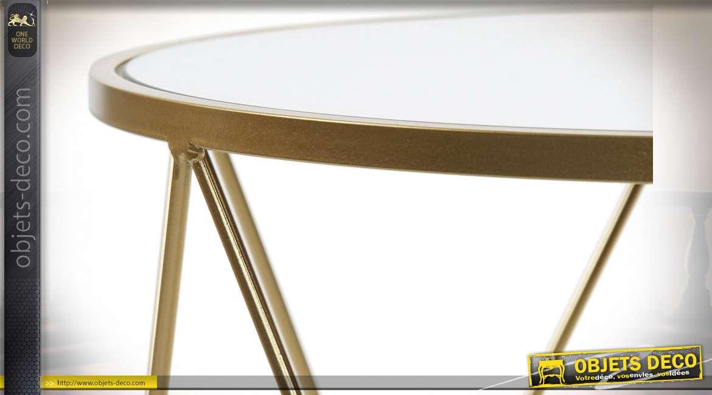 TABLE AUXILIAIRE SET 2 MÉTAL MIROIR 50X50X51 DORÉ