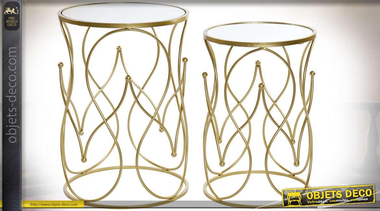 TABLE AUXILIAIRE SET 2 MÉTAL MIROIR 41X41X58 DORÉ