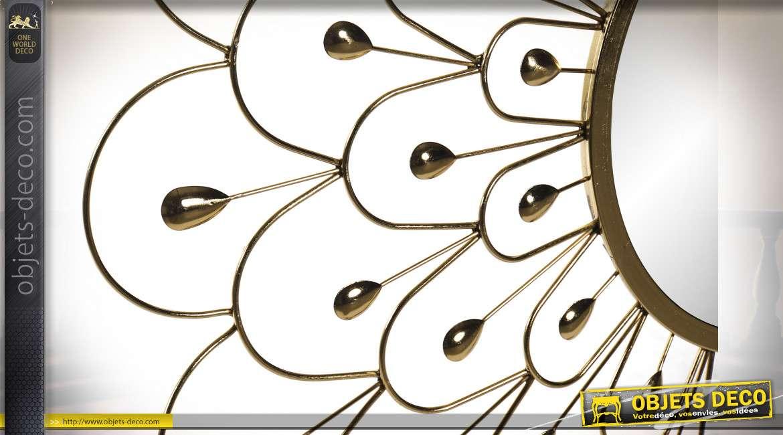 Grand miroir en métal finition doré, modèle dit fleur de 90cm de diamètre