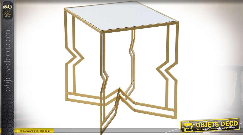 TABLE AUXILIAIRE MÉTAL MIROIR 40,5X40,5X51 DORÉ