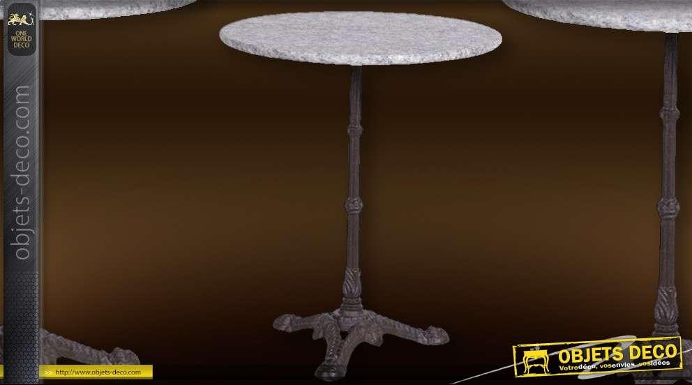 Table de jardin ronde avec plateau en marbre