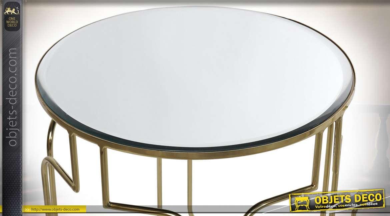 TABLE AUXILIAIRE SET 3 MÉTAL MIROIR 46X56 DORÉ