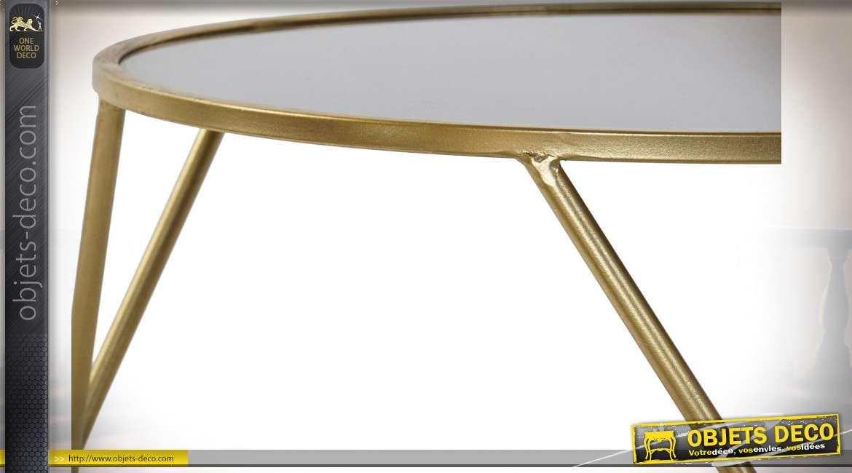 TABLE AUXILIAIRE MÉTAL MIROIR 60X60X45 DORÉ