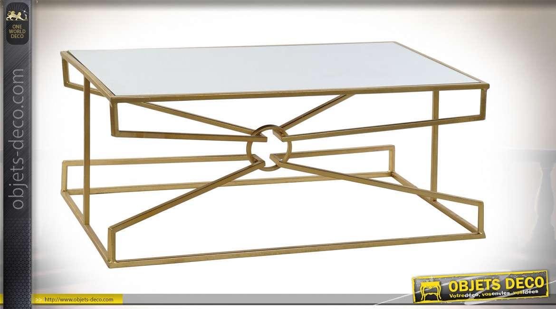 TABLE BASSE MÉTAL MIROIR 110X60X45,5 DORÉ