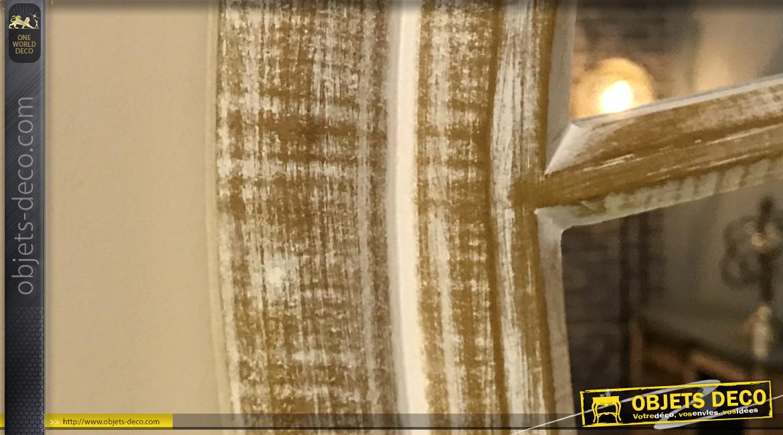 Grand miroir rond en bois finition blanchie, forme œil de bœuf de Ø90cm, style campagne chic