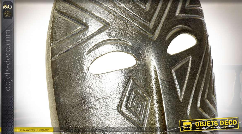 Décoration murale en aluminium effet brossé, finition vieil argent, esprit ethnique africain, 39cm