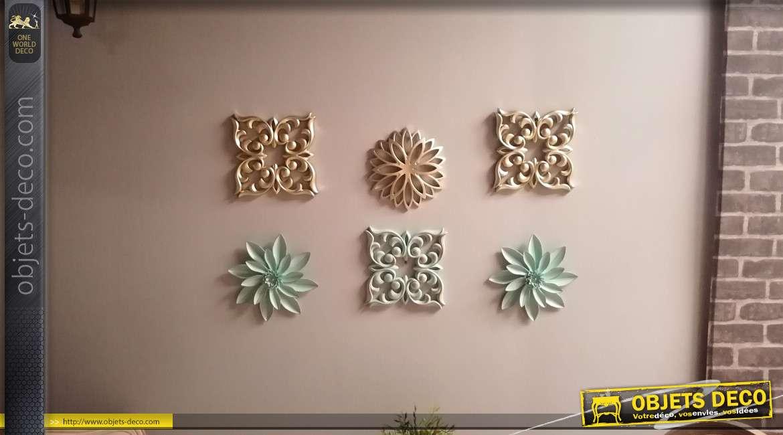 Série de 6 déco murales en résine légères, formes arabesques et rosaces, finition turquoise et vieil argent, 25cm
