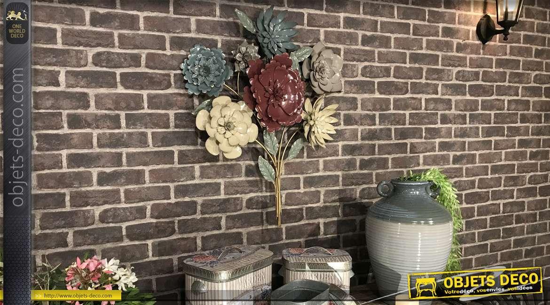 Bouquet de fleur mural en métal aux couleurs douces, finition mat