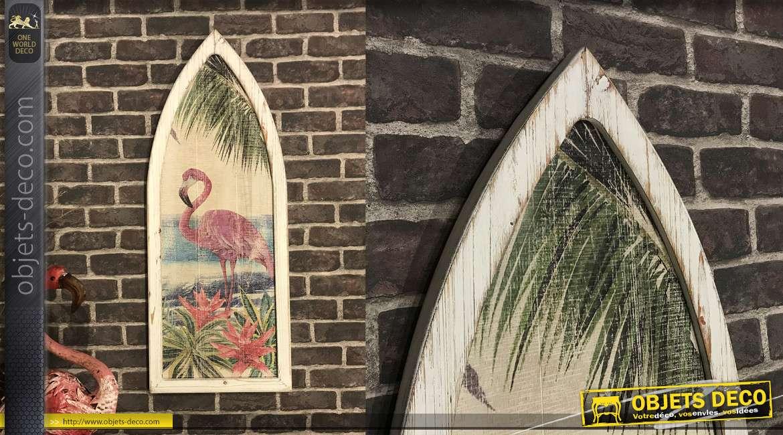 Cadre en bois en forme de fenêtre, finition usé image de flamant rose en fond, 101cm